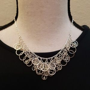 Jewelry - Silver layered circle necklace with clear beads